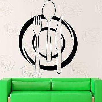 Wall Decal Kitchen Restaurant Cafe Decor Dish Cutlery Vinyl Stickers Art Unique Gift ig2554