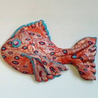 Southwestern Dotty Fish Magnet or Wall Art 3D in Polymer Clay