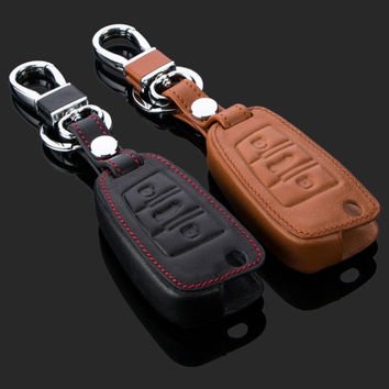 Audi Car Key Leather Cover Bag Black Brown = 1932604676