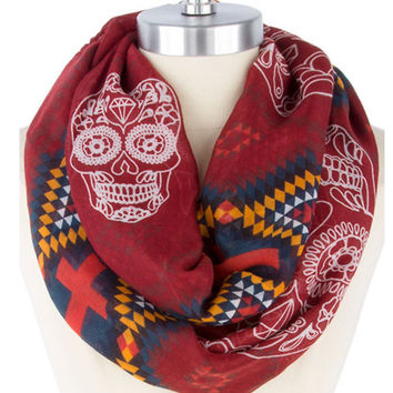 Aztec Infinity Scarf  Skull Print Scrf Most Popular Shop Item - By PiYOYO