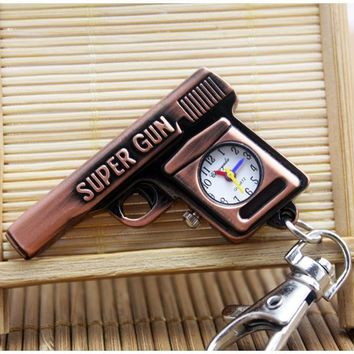 Fashion Cute Gun Shaped Super Gun motorcycle Quartz Pocket Watch Analog Pendant keychain Mens Womens Christmas Gifts P307