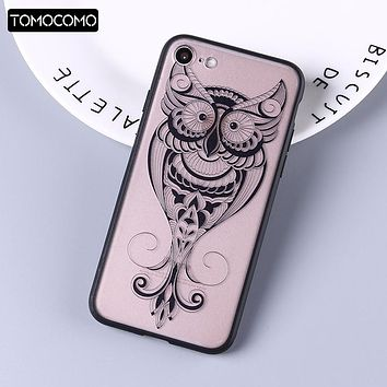 Funny Animals Owl Printed Cartoon Pattern TPU Cover Case for IPhone 6 6s Plus 5S 7 7plus 8 X Back Fundas Soft Lace Phone Cases