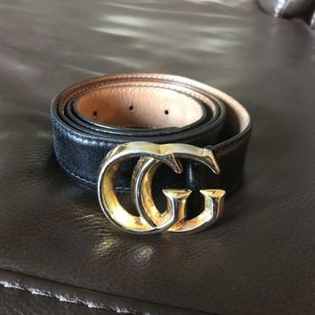 Women's Gucci Leather Belt w/ Gold GG Snake Buckle Size 36 / 90 cm