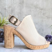 sbicca - almonte open toe perforated heel sandal - beige