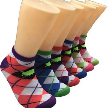 Dd Women's Low Cut Novelty Socks - All Over Argyle Print - Size 9-11(Pack Of 80)