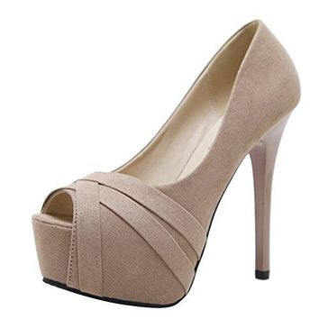 Latasa Women's Peep-Toe Platform Super High Heels Pumps
