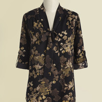Careerist and Dearest Floral Top in Earth Tones | Mod Retro Vintage Short Sleeve Shirts | ModCloth.com