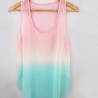 Color Gradient Tie Dye Top - Pink