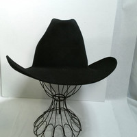 Cowboy Hat Black Cowboy Hat Long Oval Size Large 7 1/4 Resistol Western Hat Square Dance Tall Crown