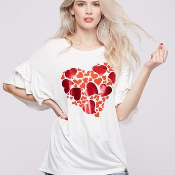 White top red shiny hearts with ruffle sleeve