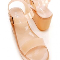 Nude Strappy Open Toe Platform Wedge Jelly Sandals PVC