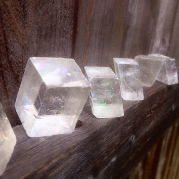 "Iceland Spar Crystal Prism / Approx 25g 1"" cubes Rough Optical Calcite Viking Prediction Stone / Symbolizes Love Friendship Peace /Illusions"