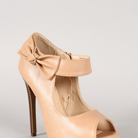 Konnea-3 Leatherette Bow Peep Toe Pump