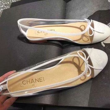 Chanel New Fashion Women Men Sandals Transparent shoes jelly shoes White