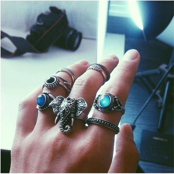 Bohemian Elephant's Ring Set