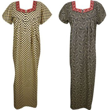 Mogul Lot Of 2 Womens Maxi Caftan Printed Cotton Short Sleeves Comfy Nightgown Nightdress Kaftan L - Walmart.com