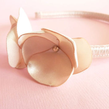 Champagne bridal flower headband satin & Swarovski LIMITED EDITION by Jye, Hand-made in France