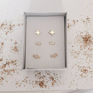 20% SALE!!! Stud Earring Set of 3 Pairs, Tiny Earrings, Minimal Earrings, Everyday Earrings, Stud Earring Set, Goldfilled Stud Earrings.