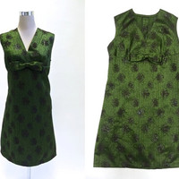 Vintage 1960's Dress - 60s Dress - Green Shimmery Cocktail Party Dress