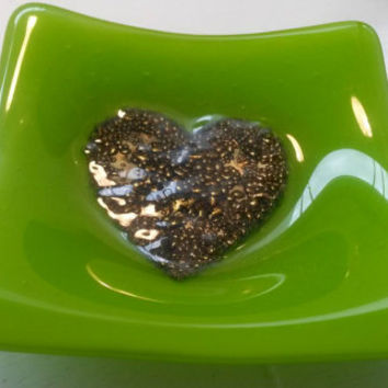 Fused glass lime green and gold trinket dish,tray,ring dish, key tray, dish for your dinner mints