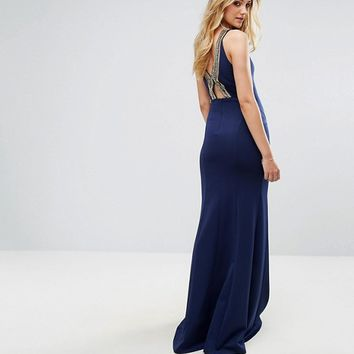 TFNC Tall Highneck Maxi Dress With Embellished Back at asos.com