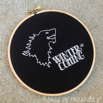 "Winter is Coming - 6"" cross stitch"