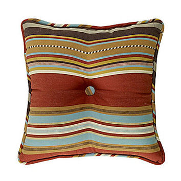 "HiEnd Accents Calhoun 18x18"" Striped Tufted Pillow"