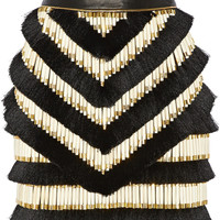 Balmain - Embellished leather mini skirt