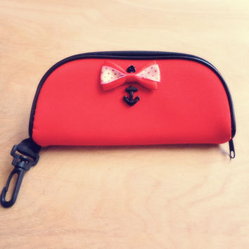 Hand Embellished Eyeglass Case, Pin Up Style with Red Bow