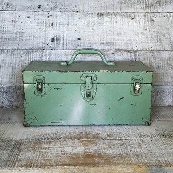 Metal Box Vintage Industrial Box Green Metal Tool Box Vintage Aqua Metal Box Industrial Storage Rusty Metal Box Vintage Storage Cottage Chic