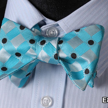E803 Aqua Blue, BLACK DOT Cotton Blend Men Gravata Classic Wedding Bow Tie, Bu
