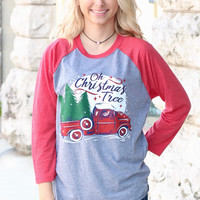 Oh Christmas Tree Vintage Truck Raglan {H. Grey+Red}