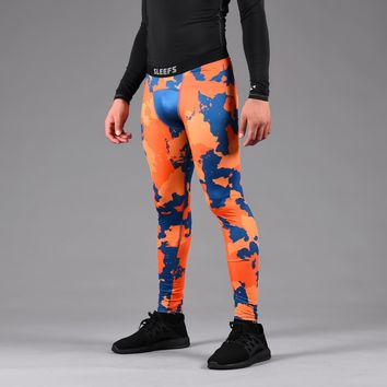 Military Star Corrosive Orange Navy Tights for men