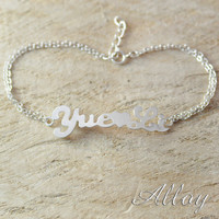 Alloy Custom name bracelet,alloy initials letter name brcelet,best gift for your love