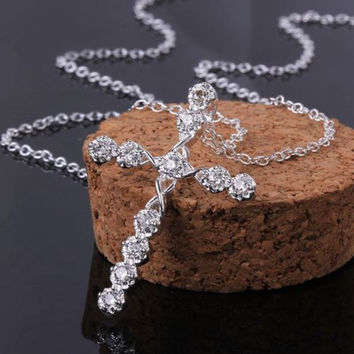 Lady Girls Silver Plated Crystal Cross Pendant Necklace Chain Jewelry + Gift Box