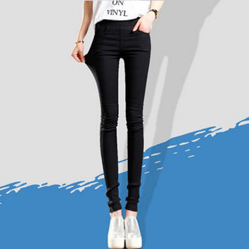 Women  Pencil Pants Waist Skinny