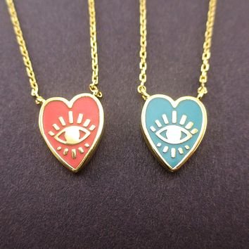Heart Shaped Evil Eye All Seeing Eye Pendant Necklace in Pink or Turquoise Blue