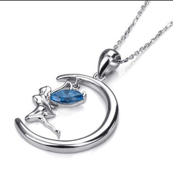 925 Sterling Silver Fairy Pendants & Necklaces For Women Blue CZ Chain Angel Wizard Pendant Necklace Fashion Jewelry