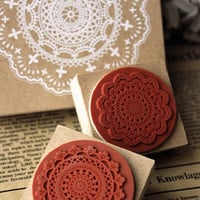 Zakka SQUARE LACE Craft Rubber Stamp/Doily Rubber Stamp/Wooden Stamp/Wedding Stamp/Invitation Stamp shipping from PARIS