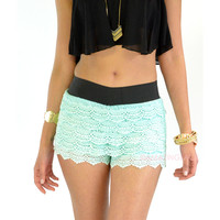 Heat Wave Mint Lace Ruffle Shorts