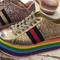 Rainbow Fashion Glitter  Platform Sneakers Truth 01