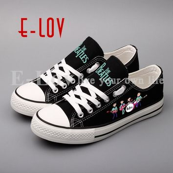 E-LOV Funny Printed Beatle Rock Band Canvas Shoes Men Boys Casual Walking Shoes Canvas Flat Leisure Shoe