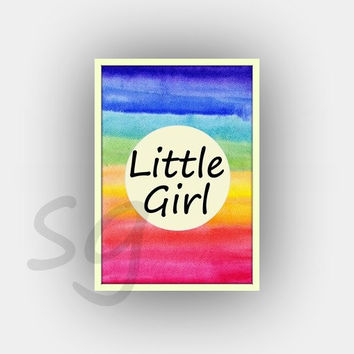 Little girl, rainbow color watercolor, Girls Baby Nursery Printable Wall Art, dorm decor, girl playroom decal, door sign, colorful, square