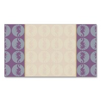 Seahorse Pattern in Gray and Purple Business Card Template