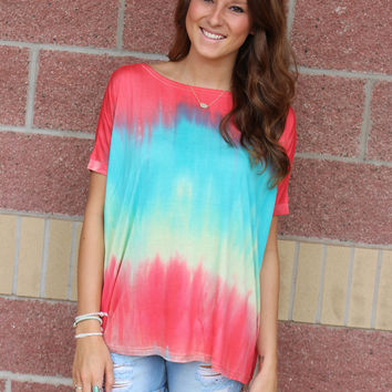 Tie dye piko crew neck short sleeve top