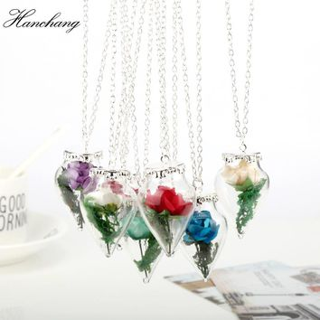 2018 New Design Glass Dried Rose Mirror Magic Bottle  Necklace