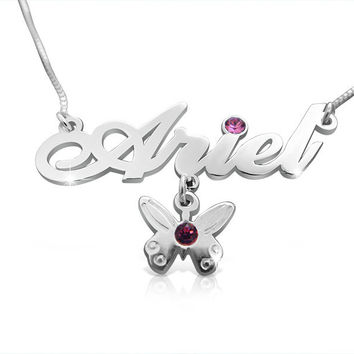 Silver Necklace With Name Butterfly Charm Birthstone Necklace Birthday Gift Gold Name Necklace Special Gift For Birthday Personalized Gifts