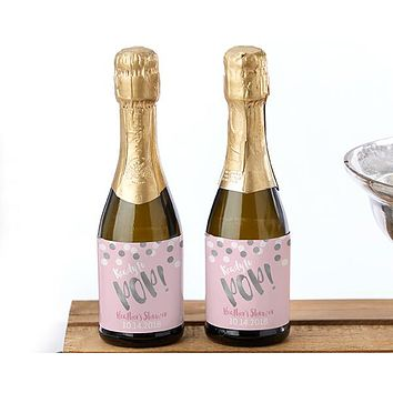 Personalized Mini Wine Bottle Labels - Ready to Pop (Girl)