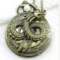 Steampunk Pirate Chinese Dragon pocket watch Locket necklace with a pearl