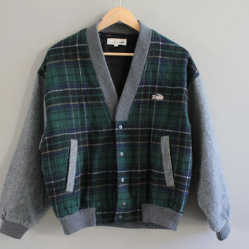Classic England style wool green plaid CROCODILE bomber jacket/ 80s men's check bomber jacket/  size m - l